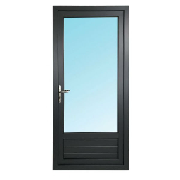 Porte Fenêtre 1 Vantail PVC Gris 7016 205x80 cm  Tirant Droit