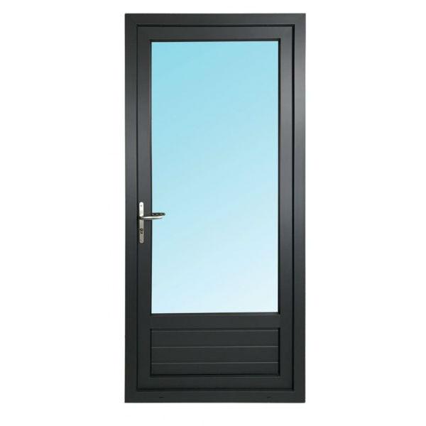 Porte Fenêtre 1 Vantail PVC Gris 7016 205x90 cm  Tirant Droit