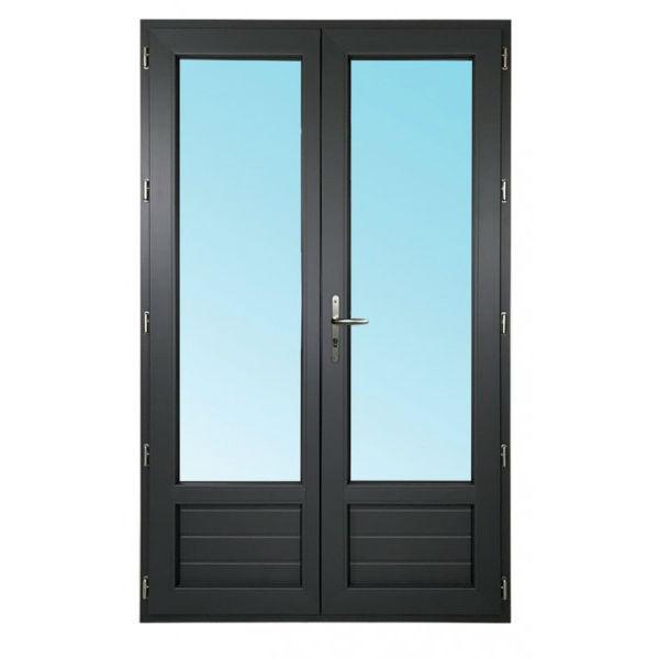 porte fen tre 2 vantaux pvc gris 215x120 cm ob. Black Bedroom Furniture Sets. Home Design Ideas