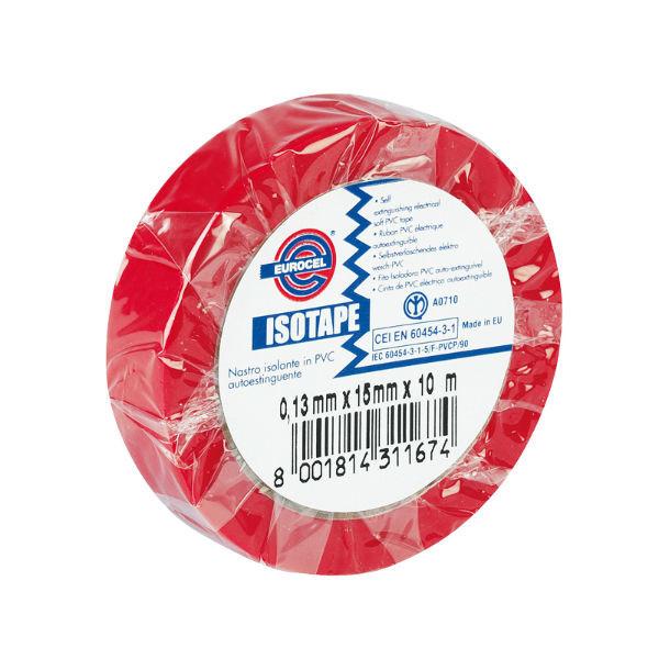 Ruban Adhésif PVC Isolant élec Rouge 15 mm x 10 m Eurocel ISOTAPE