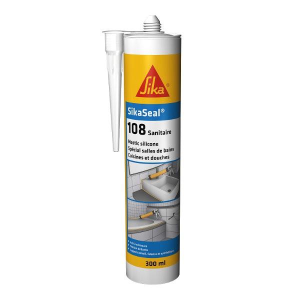 Mastic silicone SIKASEAL 108 Blanc pour sanitaire, cartouche de 300 ml
