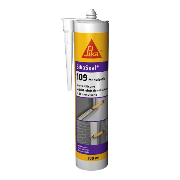 Mastic silicone SIKASEAL 109 Noir pour menuiserie, cartouche de 300 ml
