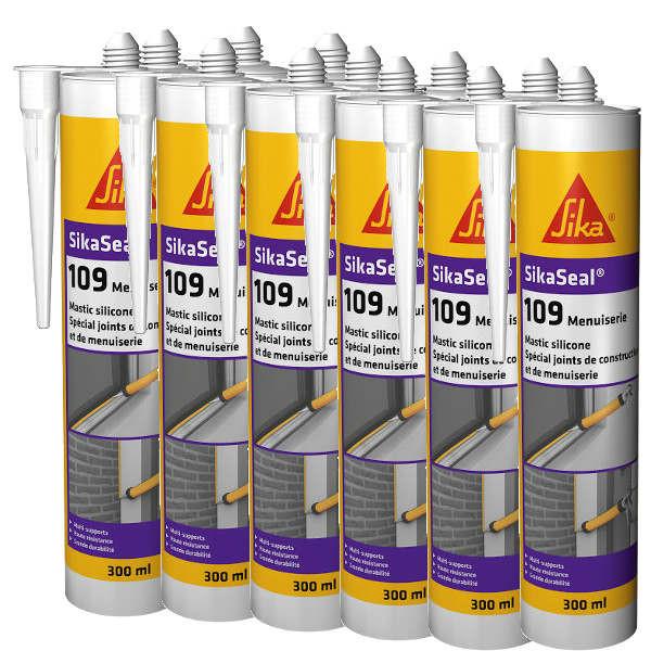 Mastic silicone SIKASEAL 109 Gris pour menuiserie, carton 12x300 ml