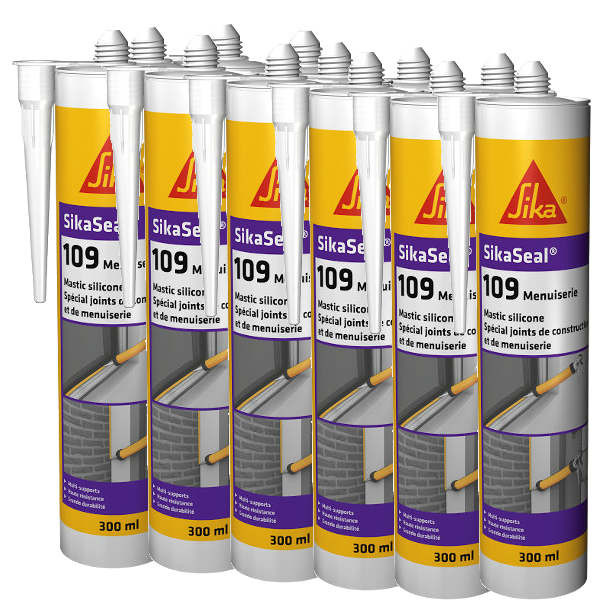 Mastic silicone SIKASEAL 109 Transparent pour menuiserie, carton 12x300 ml