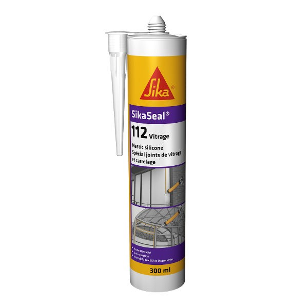 Mastic silicone SIKASEAL 112 Noir pour vitrage, carton 12x300ml