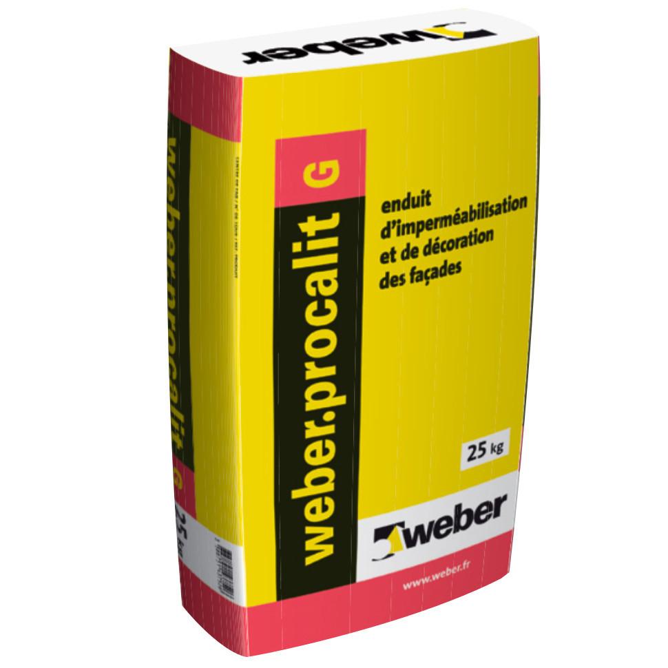 Enduit Grain Moyen Imperméabilisation Décoration Façade Weber.Procalit G 25 kg