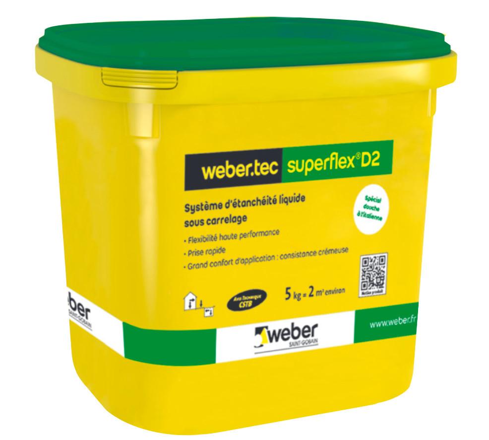 Etanchéité Liquide Sous Carrelage Weber.Tec Superflex D2 Sac 15 kg