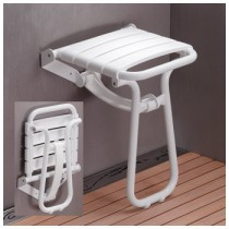 Siège de douche escamotable PMR Pellet alu blanc, 355 x 380 x 500 mm
