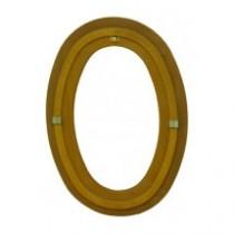 Oeil de boeuf vitré ovale en bois exotique, 65 x 50 cm