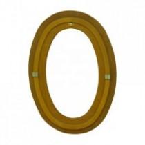 Oeil de boeuf fixe en bois exotique, ovale 80 x 60 cm
