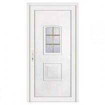 Porte d'entrée pvc Eva blanche 6 carreaux, poussant droit, 215 x 80 cm