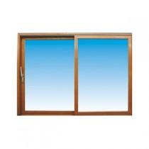Baie vitrée coulissante en bois exotique, 215 x 300 cm, fixe à gauche