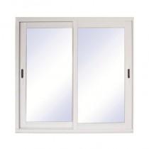Baie vitrée coulissante en aluminium blanc, 215 x 300 cm
