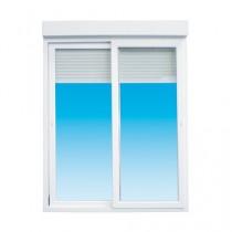 Baie vitrée coulissante PVC avec volet électrique, 215 x 240 cm