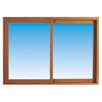 Fenêtre coulissante en bois exotique, 135 x 180 cm, fixe à droite