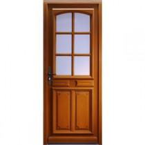 Porte d'entrée vitrée Bois exotique Isa, 215x100cm, poussant droit