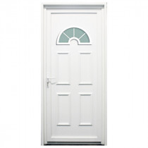 Porte d'entrée PVC Rhône blanche, 215x80cm, poussant droit