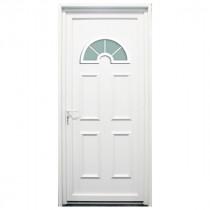 Porte d'entrée PVC Rhône blanche, 215x90cm, poussant droit