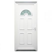 Porte d'entrée PVC Rhône blanche, 215x80cm, poussant gauche