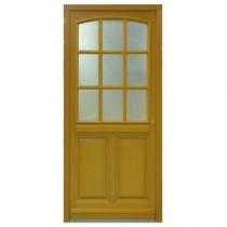 Porte d'entrée vitrée Bois exotique Lola, 215x90cm, poussant gauche