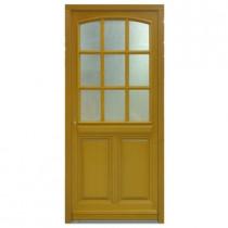 Porte d'entrée vitrée Bois exotique Lola, 215x80cm, poussant droit