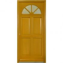 Porte d'entrée vitrée Bois exotique Léa, 215x90cm, poussant droit