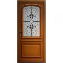 Porte d'entrée vitrée Bois exotique Elsa, 215x90cm, poussant gauche