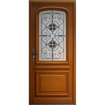 Porte d'entrée vitrée Bois exotique Elsa, 215x90cm, poussant droit