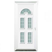 Porte d'entrée PVC Seine blanche, 215x90cm, poussant gauche