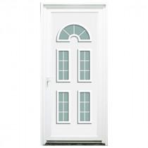 Porte d'entrée PVC Seine blanche, 215x90cm, poussant droit