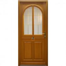 Porte d'entrée vitrée Bois exotique Ana, 215x90cm, poussant gauche