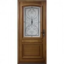 Porte d'entrée vitrée en Chêne Inès, 215x90cm, poussant gauche
