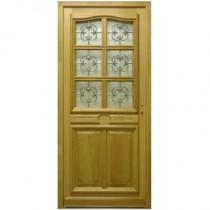 Porte d'entrée vitrée en Chêne Véro, 215x90cm, poussant gauche