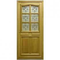 Porte d'entrée vitrée en Chêne Véro, 215x90cm, poussant droit