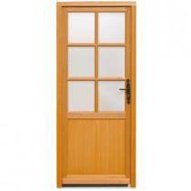 Porte de service vitrée Bois Exotique Lise, 200x80cm, poussant gauche