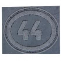 Plaque de rue en pierre bleue meulée, 3 ou 4 chiffres, entourage ovale
