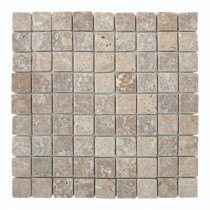 Mosaïque Moka Travertin Naturel 3083, Plaque 30,5 x 30,5 x 1 cm