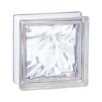 Brique de verre incolore 19x19x8 cm, aspect nuagé, 5 pièces