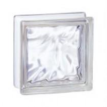 Brique de verre incolore 19x19x8 cm, aspect nuagé, par 5 pièces