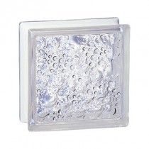 Brique de verre incolore 19x19x8 cm, aspect bullé, 5 pièces