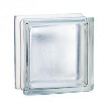 Brique de verre incolore 19x19x8 cm, aspect satiné, par 5 pièces