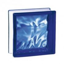 Brique de verre couleur Cobalt 19x19x8 cm aspect nuagé, par 5 pièces