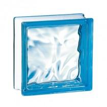 Brique de verre couleur Azur 19x19x8 cm aspect nuagé, par 5 pièces