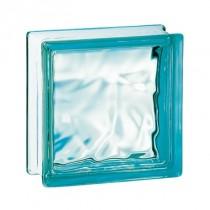 Brique de verre couleur Turquoise 19x 9x8 cm, aspect nuagé, par 5 U