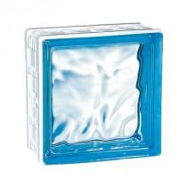 Brique de verre Cubiver Azur 19.8x19.8x8 cm, aspect nuagé, par 5 U