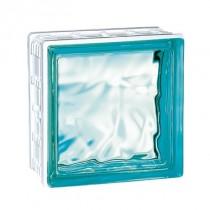 Brique de verre Cubiver Turquoise 19.8x19.8x8 cm, aspect nuagé par 5 U