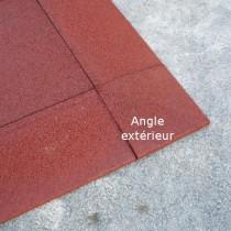 Angle extérieur caoutchouc chanfreiné Hexdalle XE 25 x 25cm ép 1 à 4,5 cm couleur rouge brique, l'unité