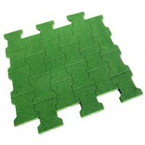 Dalle/pavé caoutchouc 80x80x2 cm, couleur verte, la dalle