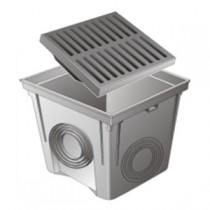 Regard PVC avec grille renforcée 40x40 cm, gris, le lot de 2  pièces