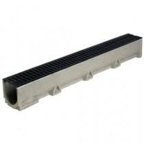 Caniveau béton de polyester SELF 100 11,8 cmx12,7 cm en 1 ml avec grille en fonte
